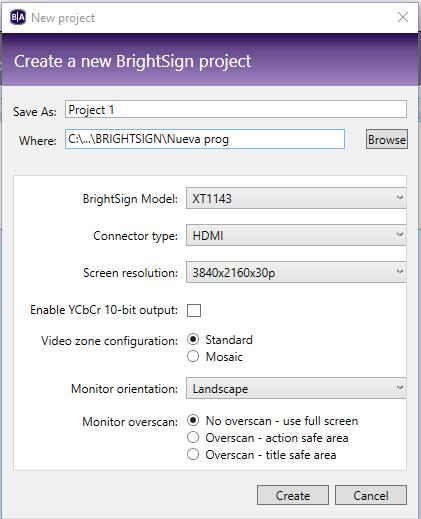 Creación proyecto BrightAuthor